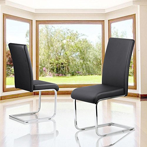 tinxs Set of 2 Stylish Black Durable Faux Leather Dining Chair With Chrome Legs And High Back Kitchen & Dining Room Furniture
