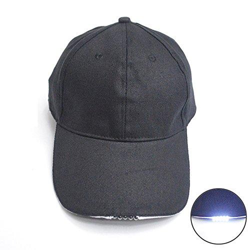 Preisvergleich Produktbild LED Baseball Cap,  Unisex Baseball Kappe Herren Damen Hüt mit 5 LED Lights für Draussen,  Sport,  Reisen oder auf Party Club Bar - Schwarz