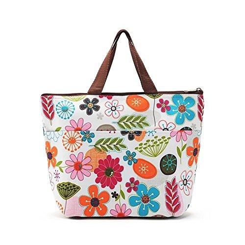 EQLEF® Portable bunte Blumen Muster Lunchbox Bag Lunch Tote gefütterte Tasche tragen (Überall Tote)