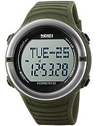 Panegy - Reloj Digital Deportivo con Múltiples Funciones Resistente al Agua con Podómetro y Monitor de Frecuencia de Corazón para Hombres-Color Verde Militar