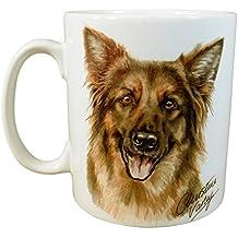 WAGGY DOGZ Marrone PASTORE TEDESCO alsaziano Cucciolo di cane prodotto in Inghilterra Regalo Presente qualità Cina tazza Pot