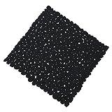 Schwarze Anti Rutsch Matte für die Dusche - Duscheinlage mit Saugnäpfen - Duschmatte in schöner Kieseldekor Steinoptik - Größe: 52 x 52cm