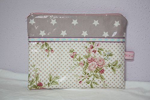 Lilli Cœur de Lion main Trousse Clutch Flowers and Stars coton enduit