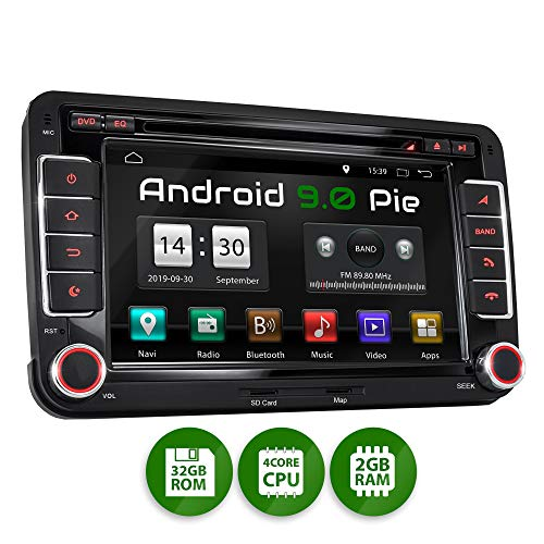 XOMAX XM-10GA Autoradio mit Android 9.0 passend für VW SEAT Skoda, 2GB RAM, 32GB ROM, GPS Navigation, DVD, CD, USB, SD I Support: WiFi 4G, DAB+, OBD2 I Bluetooth I 7 Zoll / 18 cm Touchscreen