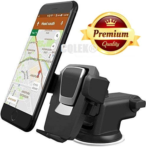 CQLEK® Premium Car Mobile Phone Holder (Imported-High Quality) For Windshield / Dashboard / Desktop – Telescopic One Touch Long Neck Arm 360 Degree Rotation with Ultimate Reusable Suction Cup Mount for Car Dashboard/Windshield/Desktop (Black)