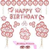 68 Stück Happy Birthday Party Luftballons Dekoration, Rose Gold Alles Gute zum Geburtstag Ballon Banner, Pre-Filled Konfetti Ballons, Latex Luftballons und Geburtstag Prinzessin Sash für Frauen Mädchen Geburtstag Party Dekorationen