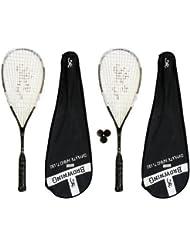 Browning Oxylite Nano 130 - Juego de 2 raquetas y 3 pelotas de squash