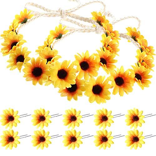 enblume Haar Nadeln Floral Haarspangen mit 2 Stück Sonnenblumen Kranz für Damen und Mädchen, Aufführungen, Partys, Hochzeiten, Festivals ()