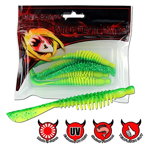 Wild Devil Baits Hornet Pin Tail Gummifisch Angel Berger Softbait (Green Flash, 10cm)