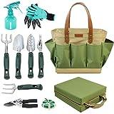 Outil de jardinage Tote Sac solide avec 11 pièces Outils à main, Meilleur jardinage Ensemble cadeau Organiseur avec kit d'outil de jardin de légumes, Tapis protège-genoux pour gratuit