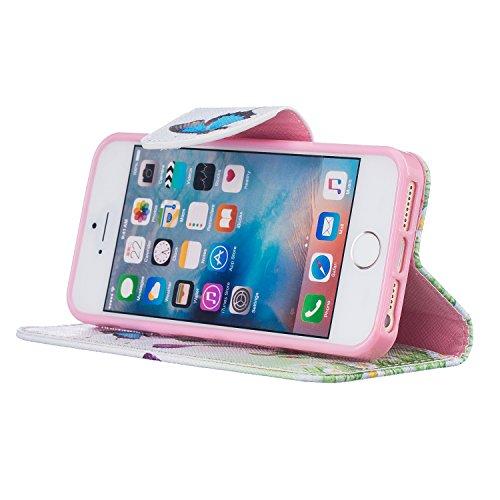 Voguecase® für Apple iPhone 7 hülle,(New York 01) Kunstleder Tasche PU Schutzhülle Tasche Leder Brieftasche Hülle Case Cover + Gratis Universal Eingabestift Blau Schmetterling 09