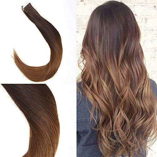 Sunny tape extensions marrone scuro a auburn 100% estensioni capelli veri adesive 20 fasce/50g 16pollice remy diritto capelli umani 40cm