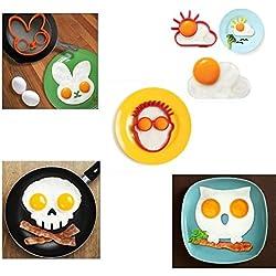 Molde para huevos y tortitas, con forma de búho, conejo, sol, humano y calavera. Para niños y familias