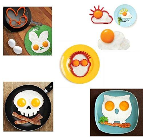 Molde para huevos y tortitas, con forma de búho, conejo, sol,...