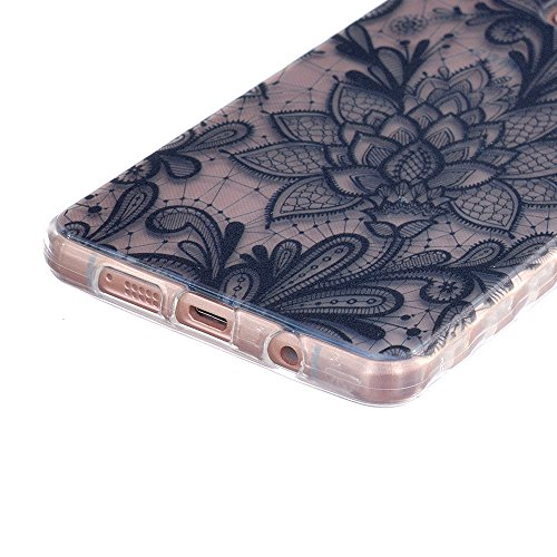 iPhone SE 5 5S Coque (2016 Model)-Linvei TPU Silicon Gel Housse Transparent Case Étui Case Cover for iPhone SE 5 5s Black Flower Totem #3