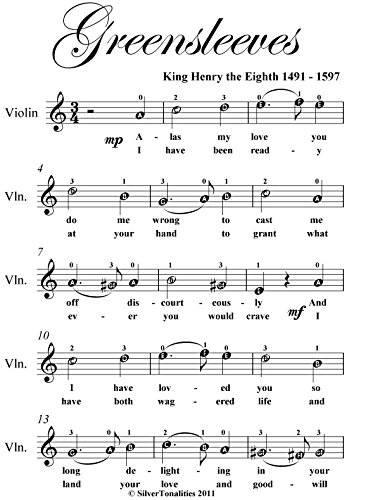 Greensleeves Easy Violin Sheet Music eBook: King Henry the Eighth