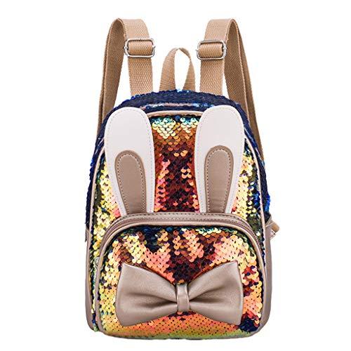 Dasongff Glänzende Damen Pailletten Rucksäcke Teenager Mädchen Party Mini Schultaschen Kinder Cartoon Tasche Glitzer Schulranzen Junge Mädchen Tagesrucksack Sequin Daypack Bunt Backpack