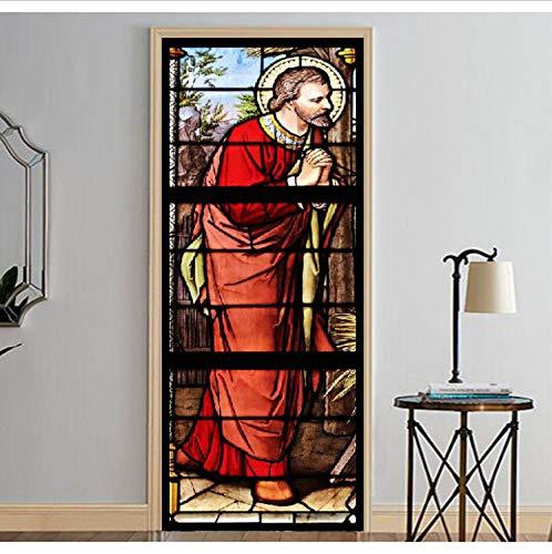Namefeng Tür Dticker Jesus Mit Rote Kleidung Wandmalereien Wandaufkleber Tür Aufkleber Tapete Aufkleber Dekoration 77X200Cm