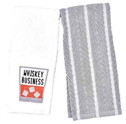 DBD Home Küchentuch-Set mit lustigen Stickereien - Zwei weiche Frottee-Handtücher Whiskey Business