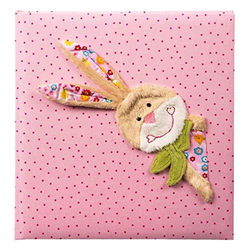 Goldbuch Babyalbum, Bungee Bunny, 30 x 31 cm, 60 weiße Blankoseiten mit 4 illustrierten Seiten und Pergamin-Trennblättern, Leinen mit Applikation, Pink, 15591 (Bungee-baby)