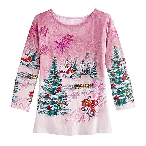Mymyguoe Frauen Sweatshirt Weihnachten 3D Print Party Langarm Top Bottom Shirt Pullover Lose Tunika...