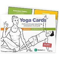 WorkoutLabs Tarjetas plásticas de Yoga con Lengua sánscrito para Estudio Visual, secuenciación de Clases, práctica con posturas, Ejercicios de respiración y meditación (Juego Completo)