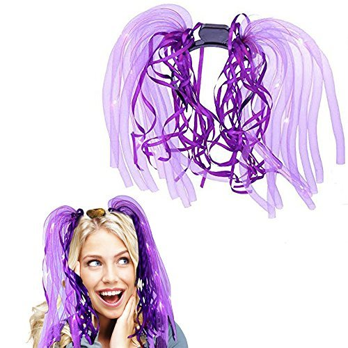 Toy Cubby Light-up LED Party Rave Disco Glowing Flashing Noodle Hair Light Dreads - Purple by Toy Cubby