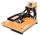 RICOO Transferpresse Textilpresse T438M-GS Öffnungsautomatik Textildruckpresse Thermopresse Transferdruck Bügelpresse Textil T-Shirtpresse Sublimationspresse/Flexfolie und Flockfolie/Orange Schwarz