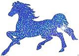Bügelbild galoppierendes Pferd, glitzernd, für T-Shirt, Junggesellinnenabschied, Party blau