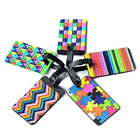 Colorful ID Tags, Tetris Pattern Durable Rubber Secure Tags for Luggage and Sports Gear Bags, Set of 5