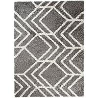 102fd3ffaf5a14 Tapiso® Art Shaggy Hochflor Teppich - Geometrische zick Zack Muster in Grau  - weicher Langflor