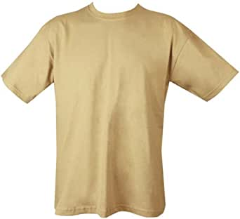 Mens Plain Military/Army T-shirt 100% Cotton (X-Large, Sand)
