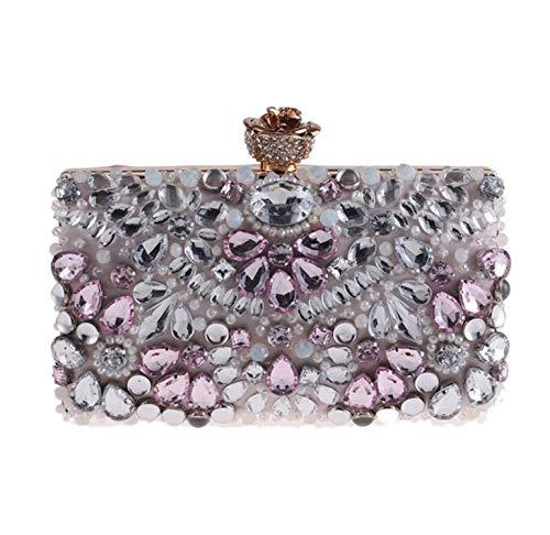 smile-coco Abendtasche Clutch mit Perlen, Strasssteinen, für Abendveranstaltungen, Hochzeitstasche, Hellrosa, Mini