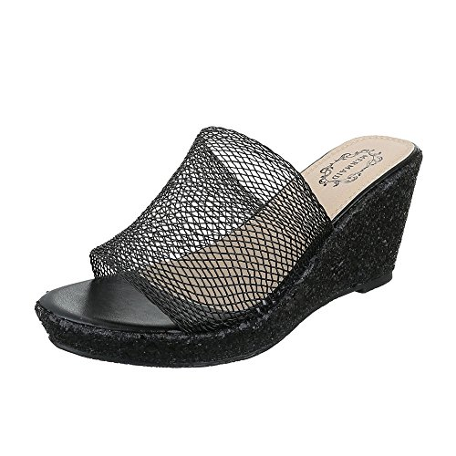 Pantoletten Damenschuhe Jazz & Modern Keilabsatz/ Wedge Keilabsatz Ital-Design Sandalen / Sandaletten Schwarz