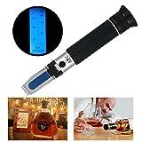 RCYAGO Handheld 0-80% Alkohol Refraktometer Einzige Skala ATC Hintergrundbeleuchtung Test-Tool für Winzer Alkoholproduktion Spirituose Destillierte Getränke und Ethanol mit Wasser wie Whisky, Brandy