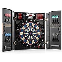 OneConcept Masterdarter - Dartautomat, elektronische Dartscheibe, E-Darts, Spielcomputer, bis zu 16 Spieler, virtueller Gegner, LED-Anzeigen, 12 Softtip-Darts, 2 Türen in Holzoptik, Holzoptik