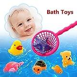 I giocattoli possono galleggiare sull'acqua e suonano quando se lo spreme.  Pacchetto incluso: 8 PCS giocattoli differenti  Nel processo di giocare con questi giocattoli, è possibile migliorare la coordinazione occhio-mano e lo sviluppo dell'intel...