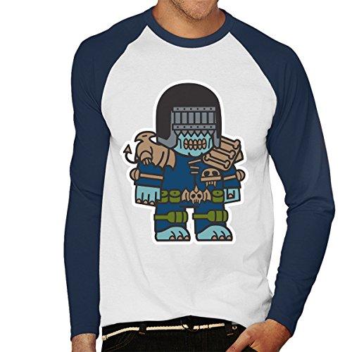 Mitesized Judge Death Dredd Men's Baseball Long Sleeved T-Shirt White/Navy