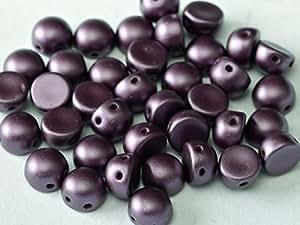 25pcs Cabochon Bead - Tschechische Druckperlen Halbkugel 6x4 mm, 2 Löcher, Pastel Bordeaux