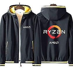 Sudadera con Capucha y Cremallera Completa para Hombre AMD Ryzen Processor Mark ADM Geek Teen Fashion Sudadera Deportiva Cómoda de Manga Larga Jacket Unisex (No Shirt),black-yellow,L(168-170cm)