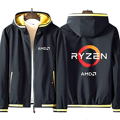 73HA73 Kapuzen Sweatshirt Herren Full Zip Hoodie AMD Ryzen Prozessor Mark ADM Geek Teen Fashion Langarm Komfortable Sweatshirt Unisex Jacke (No Shirt),Black-Yellow,5XL(195-200cm)