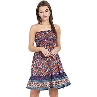 suchos one piece short sleeveless dress for women floral