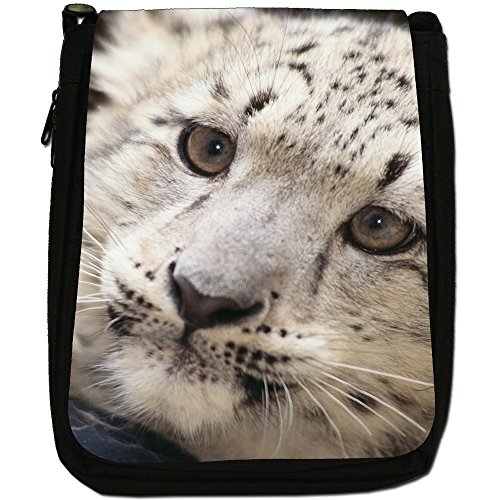 Snow Leopard Wild Cat Medium Nero Tela Borsa a tracolla, taglia M Cute Baby Snow Leopard Cub