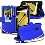 Spyrox ( Blue ) Motorola Moto E 2015 2nd Generation Hülle Abdeckung Cover Case schutzhülle Tasche Stylish Fitted BookStyle PU Leather Wallet Flip With Credit / Debit Card Slot Case Skin Cover With LCD Screen Protector Guard, Polishing Cloth & Mini Retractable Stylus Pen