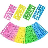Set di Stencil Stampini da Disegno in Plastica per Bambini, 74 Forme, 24 Pezzi