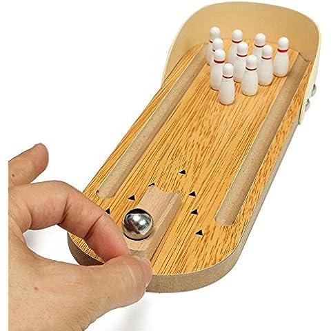 Diversión de madera Mini escritorio bolos para juegos de pelota juguetes para adultos y niños