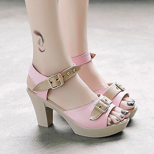 RUGAI-UE La boucle de la bouche de poisson talon d'été Sandales Chaussures Femme Waterprotable Fashion Chaussures High-Heeled Pink