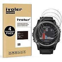 iVoler [4-Unidades] Protector de Pantalla Garmin fenix 3/3 HR/3 Saphir, Cristal Vidrio Templado Premium para Garmin fenix 3/3 HR/3 Saphir [9H Dureza] [Alta Definicion 0.2mm] [2.5D Round Edge]
