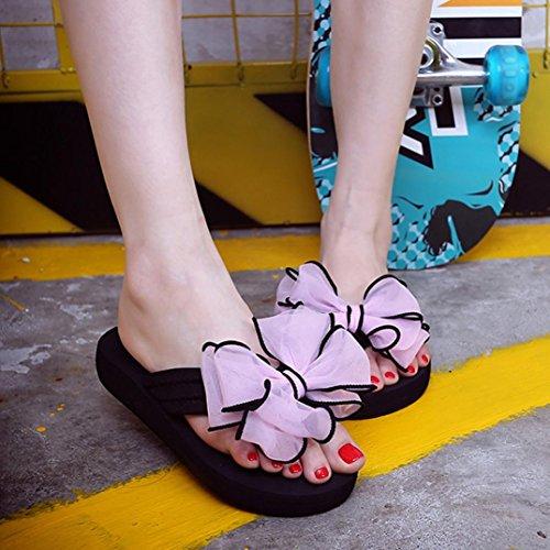 FEITONG Frauen Sommer Bowknot Slipper Home Flip-Flops Strand Schuhe Rosa