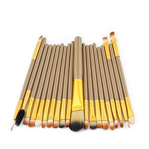 Brosse de maquillage, 20Pcs / Set Lip Eyebrow Blush Fondation Mélange Poudre Ombre à Paupières Contour Concealer Beauté Brosse Colorée Jouet Outil à Outils Cosmétiques (Color : Brown Gold)